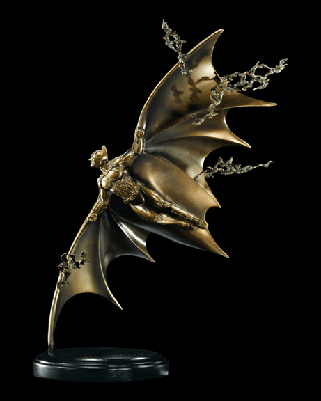 Collectible Flying Batman Sculpture in Bronze with black background