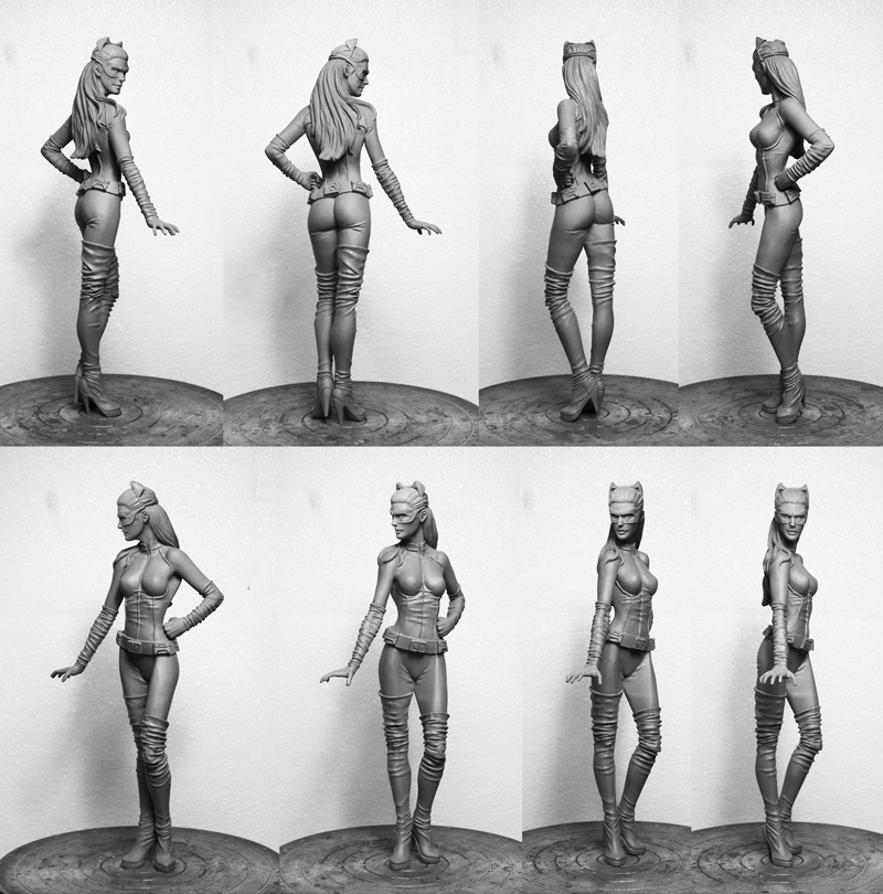 Angles of the hand carving for Solid Bronze Catwoman Statue