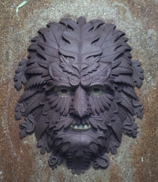 GreenMan Hanging Sculpture in Clay