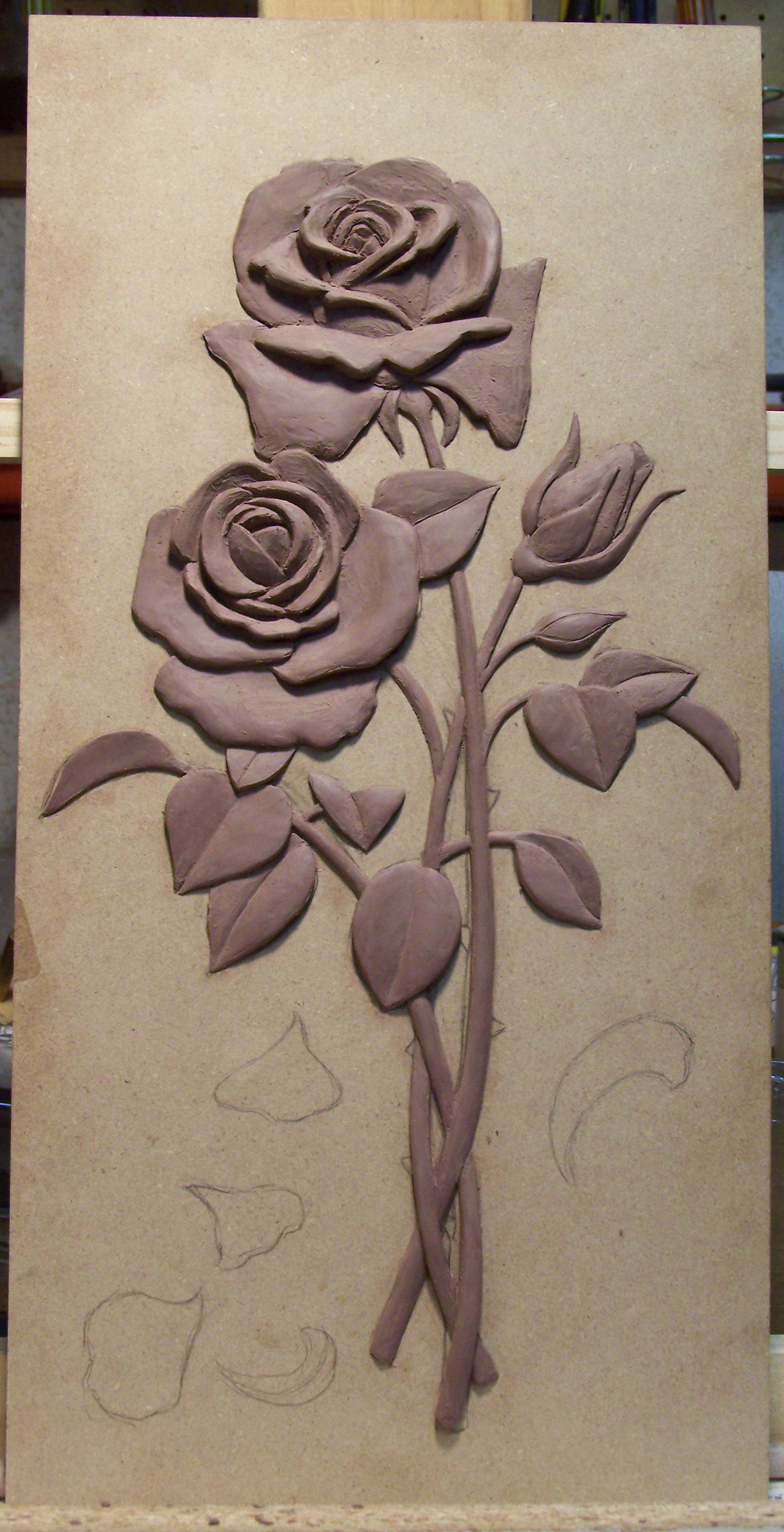 Bas Relief Rose Sculpture Hanging Rose Sculpture