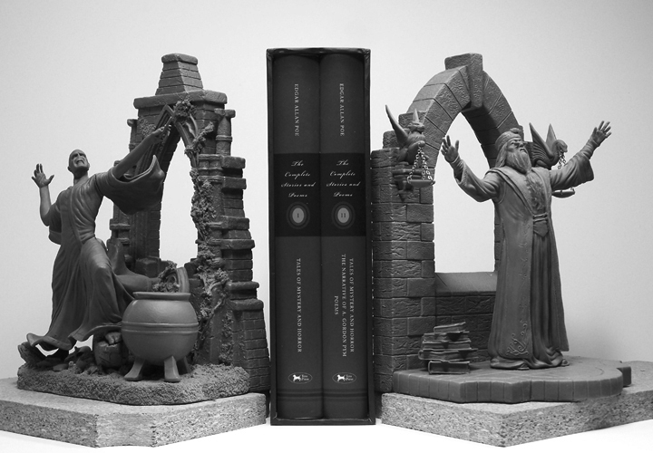 Voldemort and Dumbledore Bookends sculptures