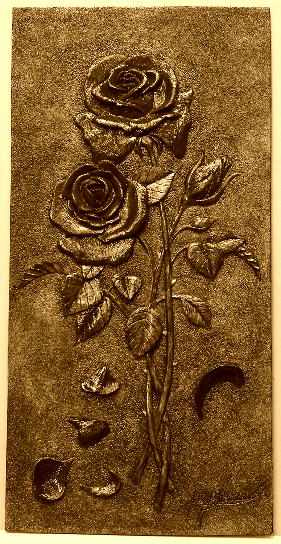 Bas relief rose sculpture hanging